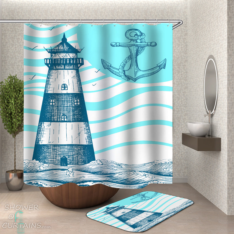 Anchor And Lighthouse Shower Curtain