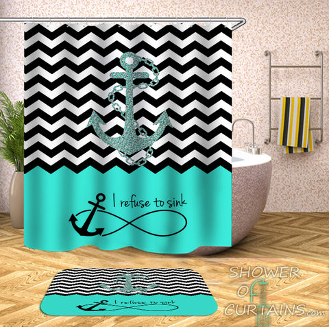 "Anchor Shower Curtain - Anchor ""I Refuse To Sink"""