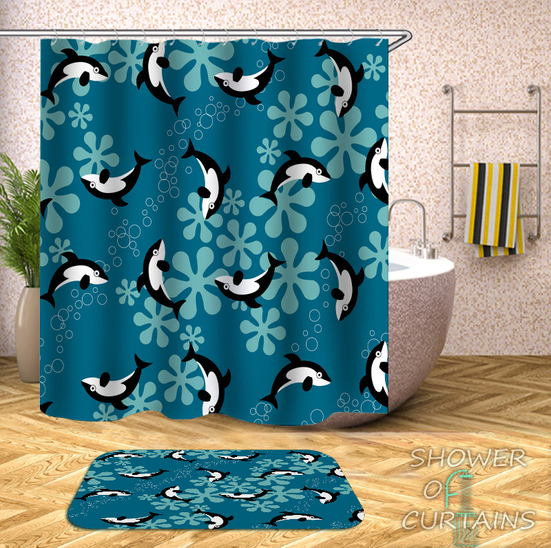 Animal Shower Curtain - Pattern Of Whales Shower curtain