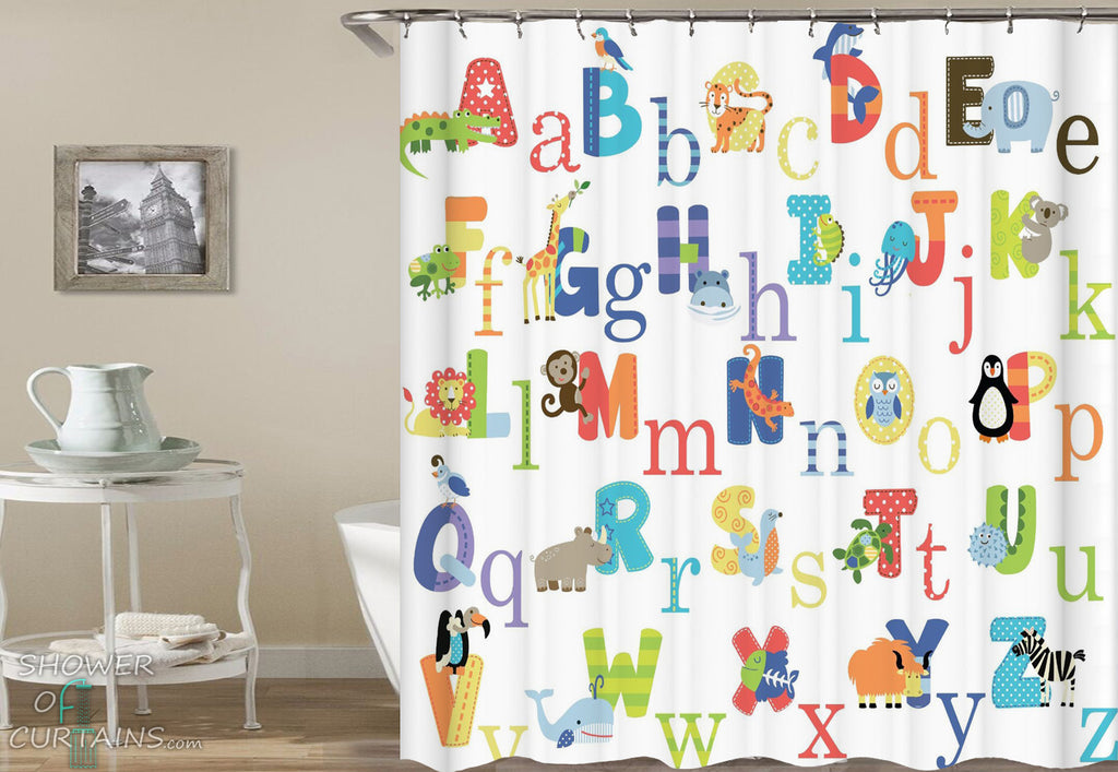 Animals Alphabet Shower Curtain - Children's Shower Curtains
