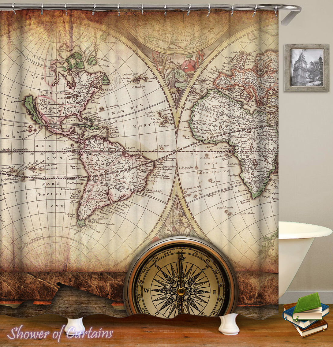Antiquated World Map Shower Curtain