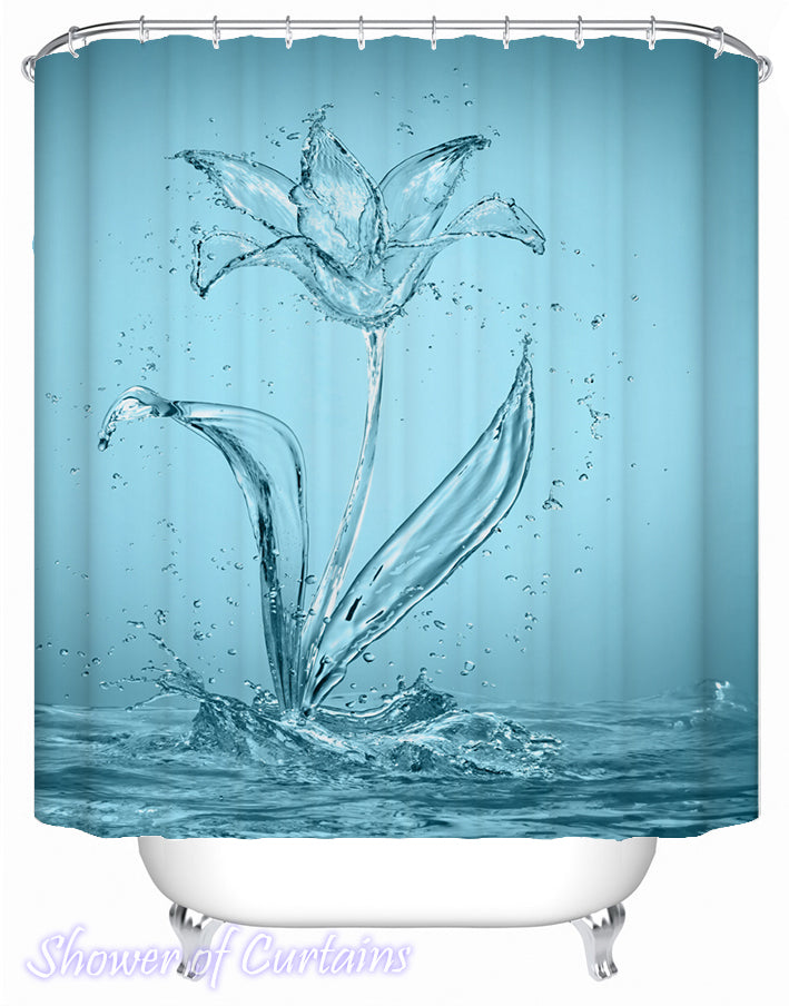 Aqua Rose shower curtains design