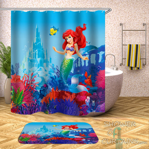 Ariel Shower Curtain - The Little Mermaid Bathroom Decor