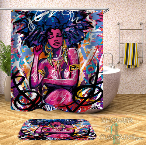Art Colorful Shower Curtains of Crazy Colors African Beauty
