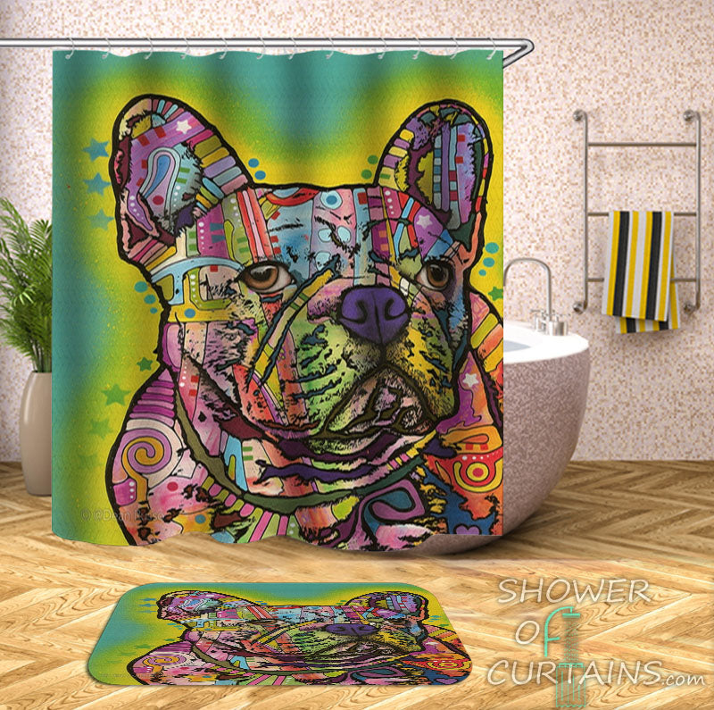 Art Dog Shower Curtain of Colorful Bulldog Shower Curtain