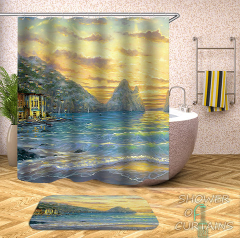Art Painting Coastal Shower Curtains