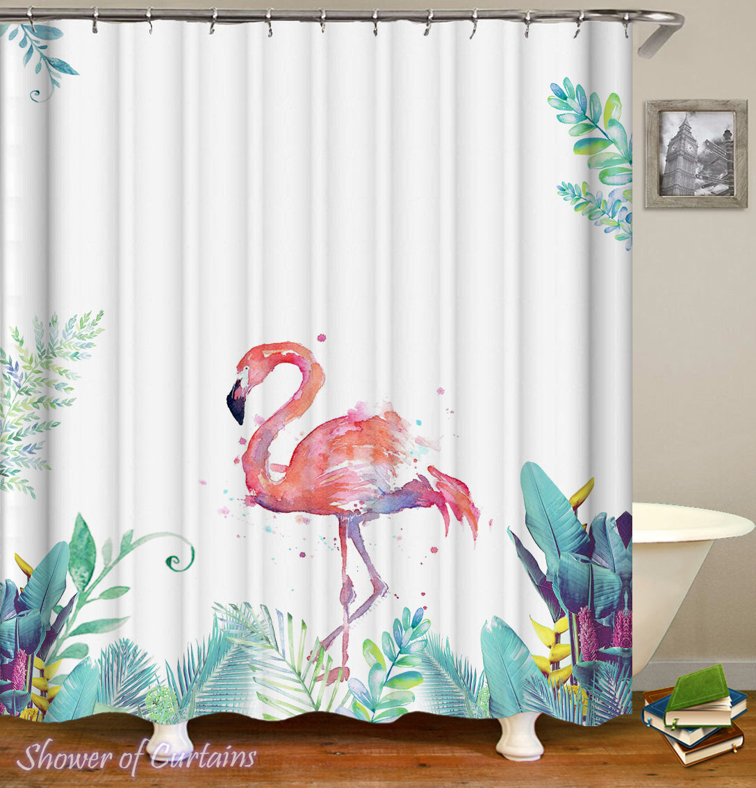 Shower Curtains Art Painting Flamingo Shower Of Curtains
