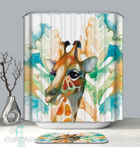 Art Painting Giraffe Shower Curtain