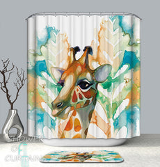 art-painting-giraffe-shower-curtain
