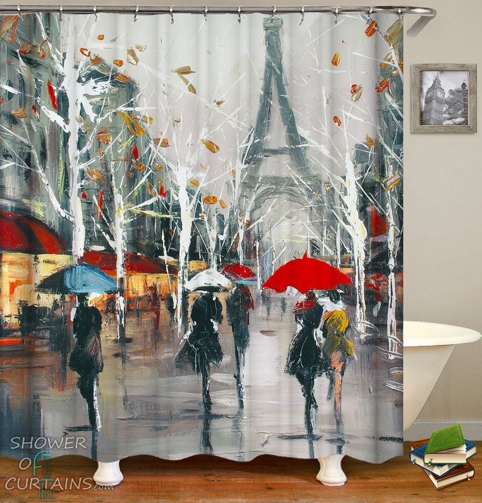Art Painting Paris Shower Curtain
