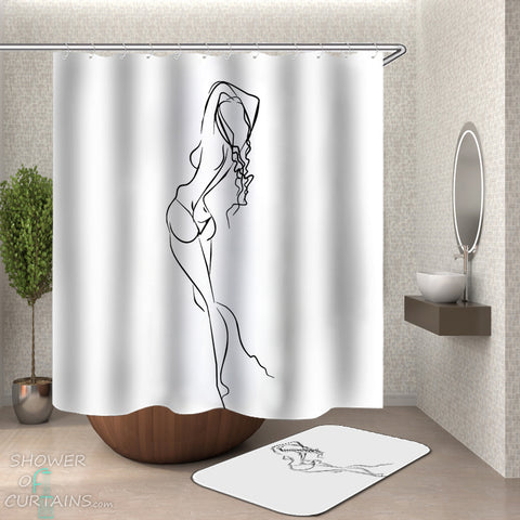 Art Sex Shower Curtain of Line Drawing Sexy Woman