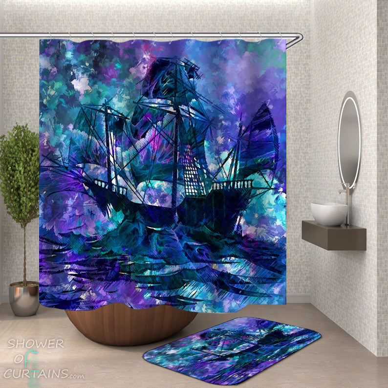 Art Ship Shower Curtain