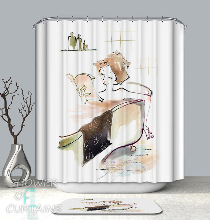 Art Shower Curtain - Bathing With A Book Drawing