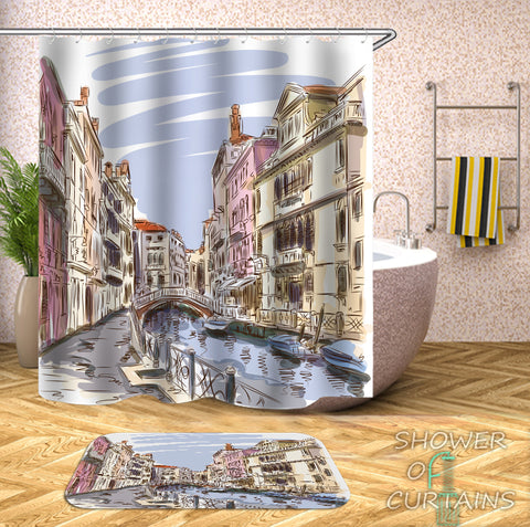 Art Shower Curtain - Color Drawing Venice