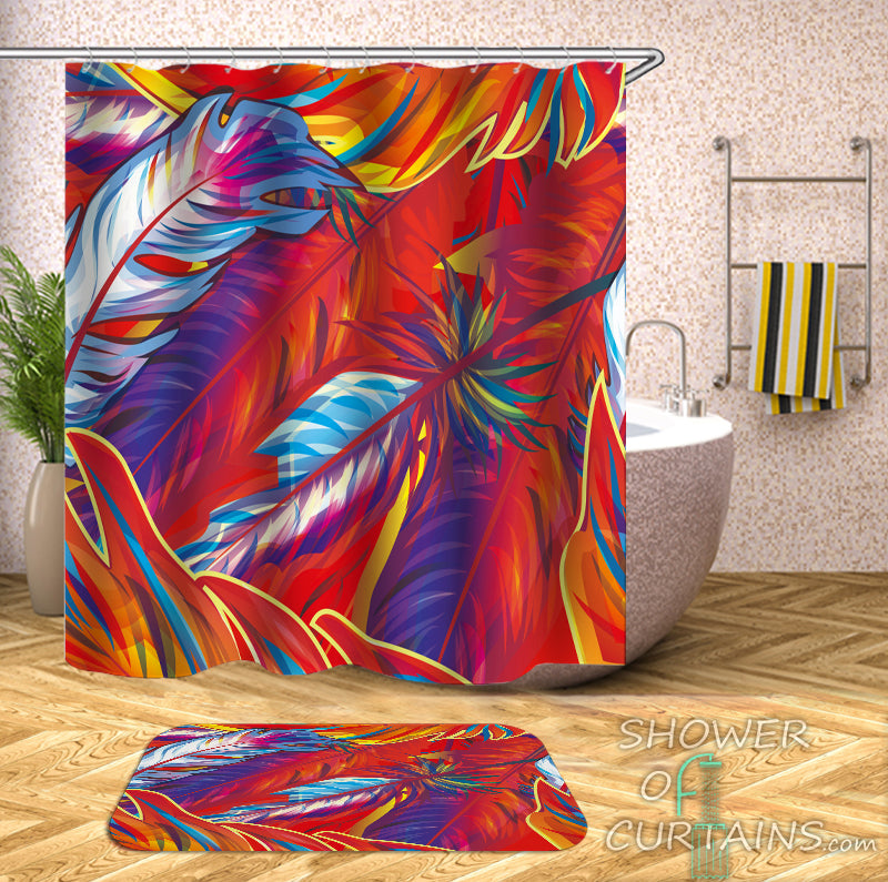 Art Shower Curtain - Fire Colors Feathers