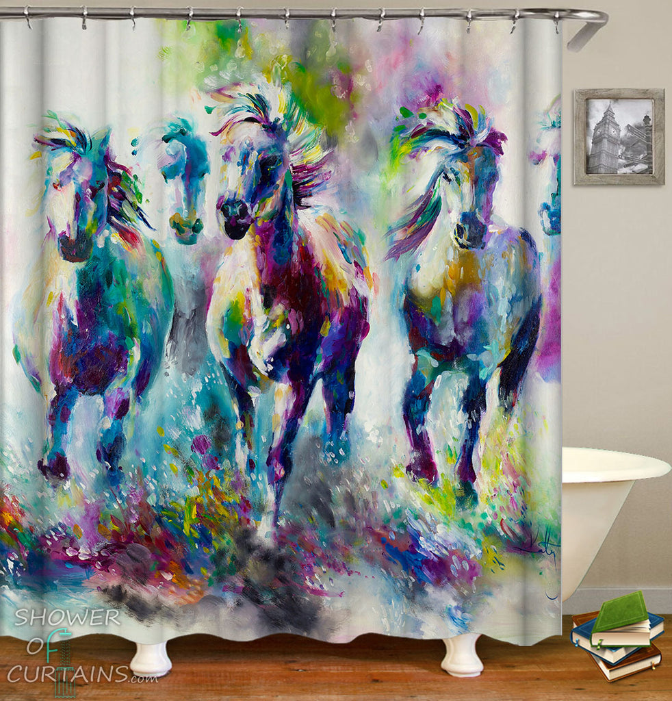 Art Shower Curtain - Horses Painting Art Shower Curtain