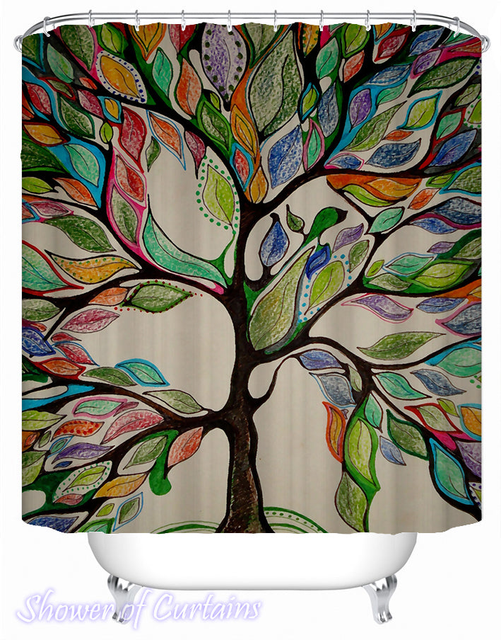 Art Shower Curtain - Multicolored Artwork Tree Shower Curtain