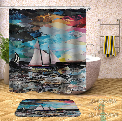 Art Shower Curtain of Art Painting Sailboat Shower Curtain