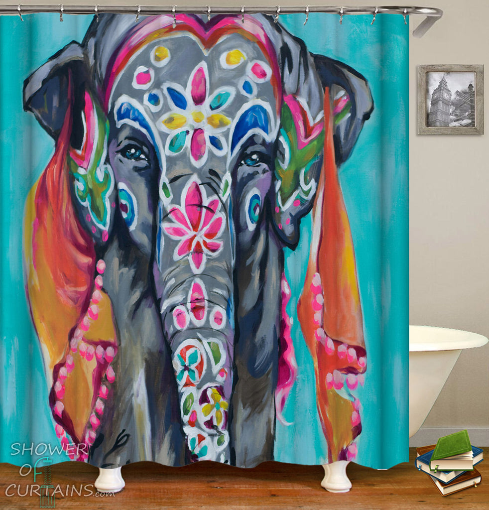 Art Shower Curtain of Colorful Indian Sari Elephant