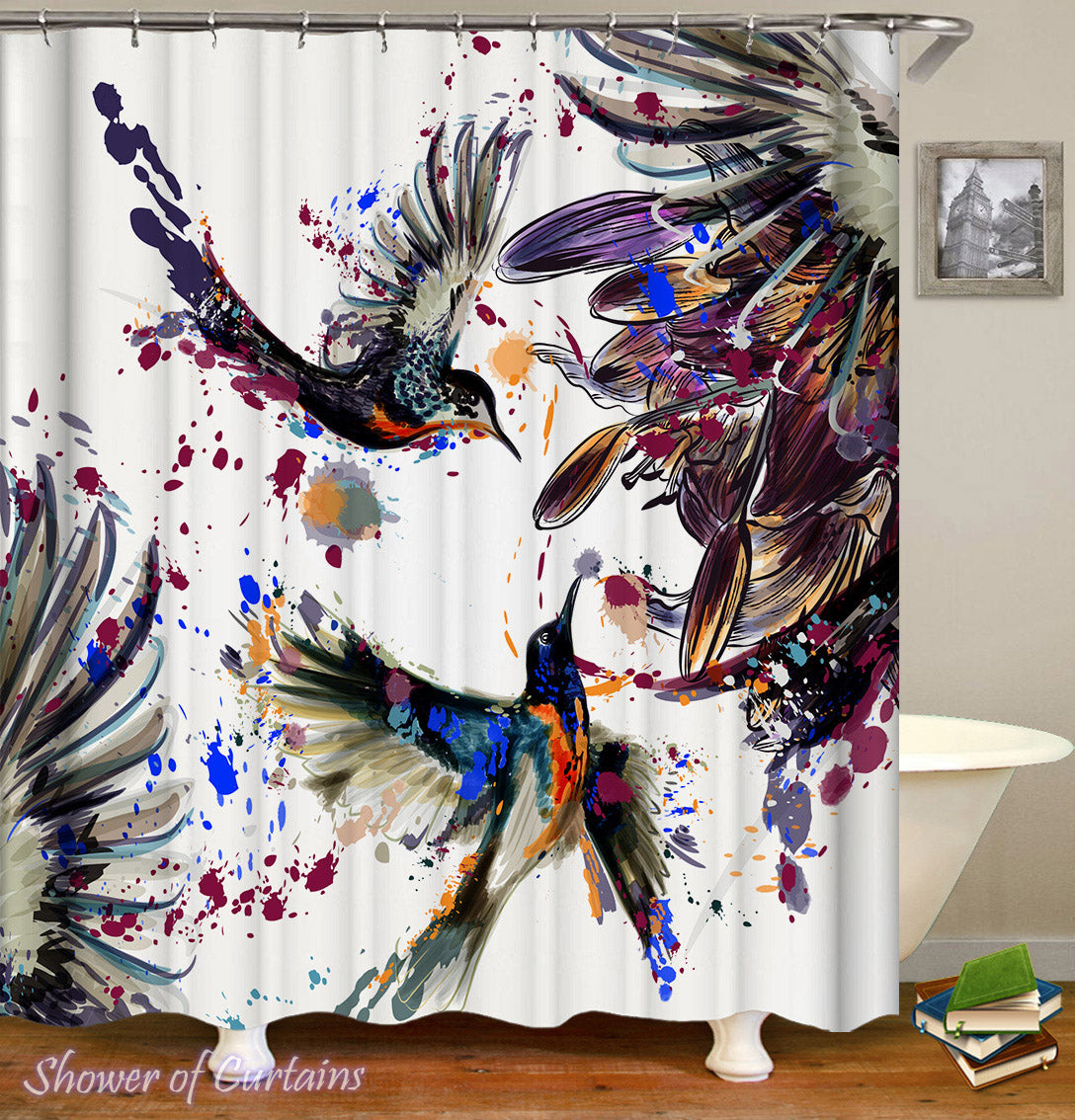 Etonnant Art Shower Curtain Of Dark Painting Hummingbird Shower Curtain