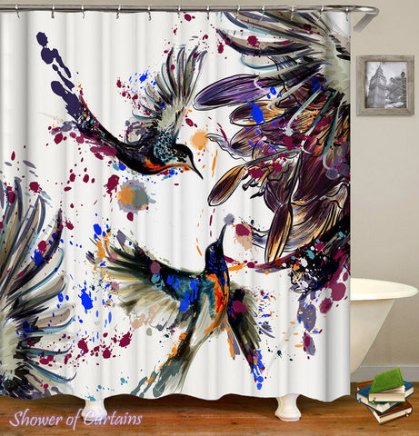 Art Shower Curtain of Dark Painting Hummingbird Shower Curtain