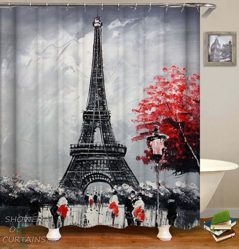 Art Shower Curtain of Eiffel Tower Black And Red Art