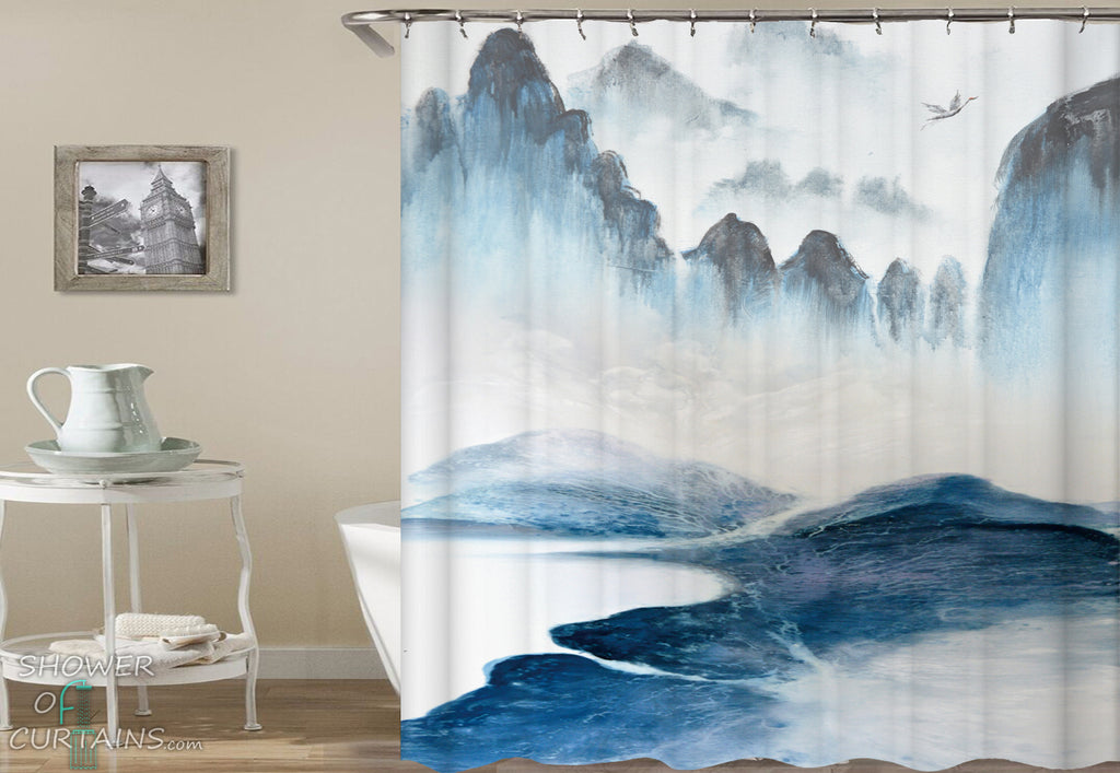 Art Shower Curtain of Ocean Cliffs Art