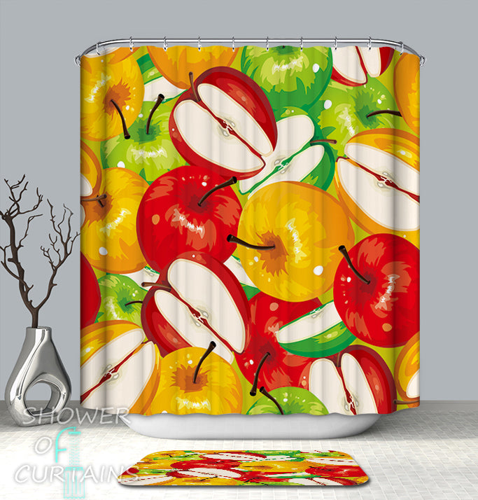 Art Shower Curtain of Three Color Apples