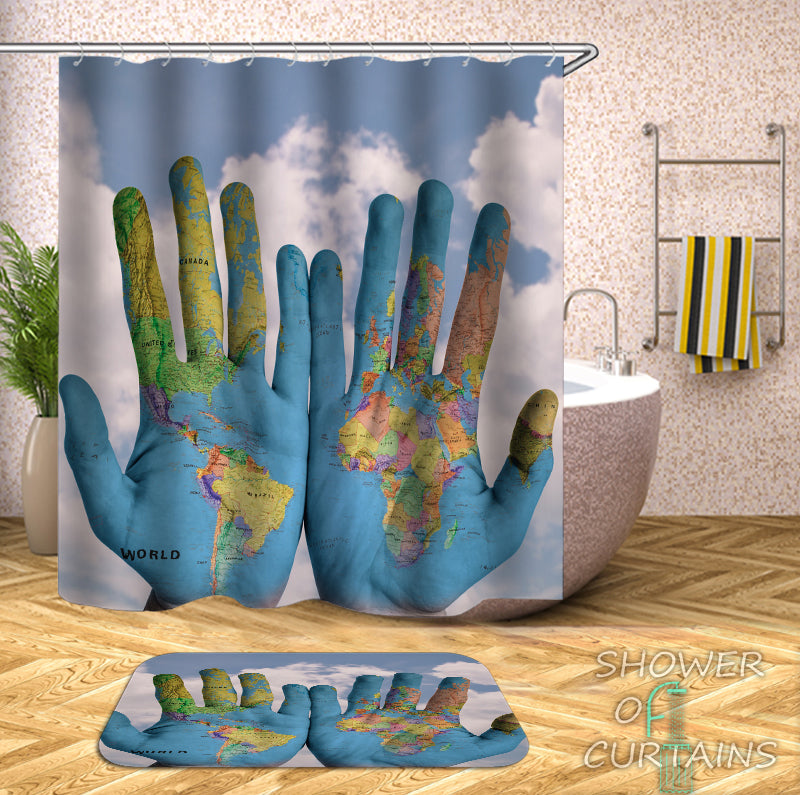 World Map On Hands.Shower Curtains World Map Hands Shower Of Curtains