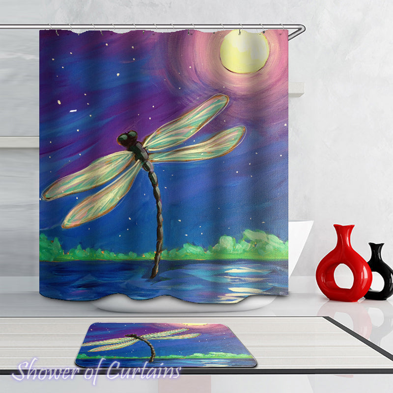 Art Shower Curtains - Dragonfly Moon Light Painting