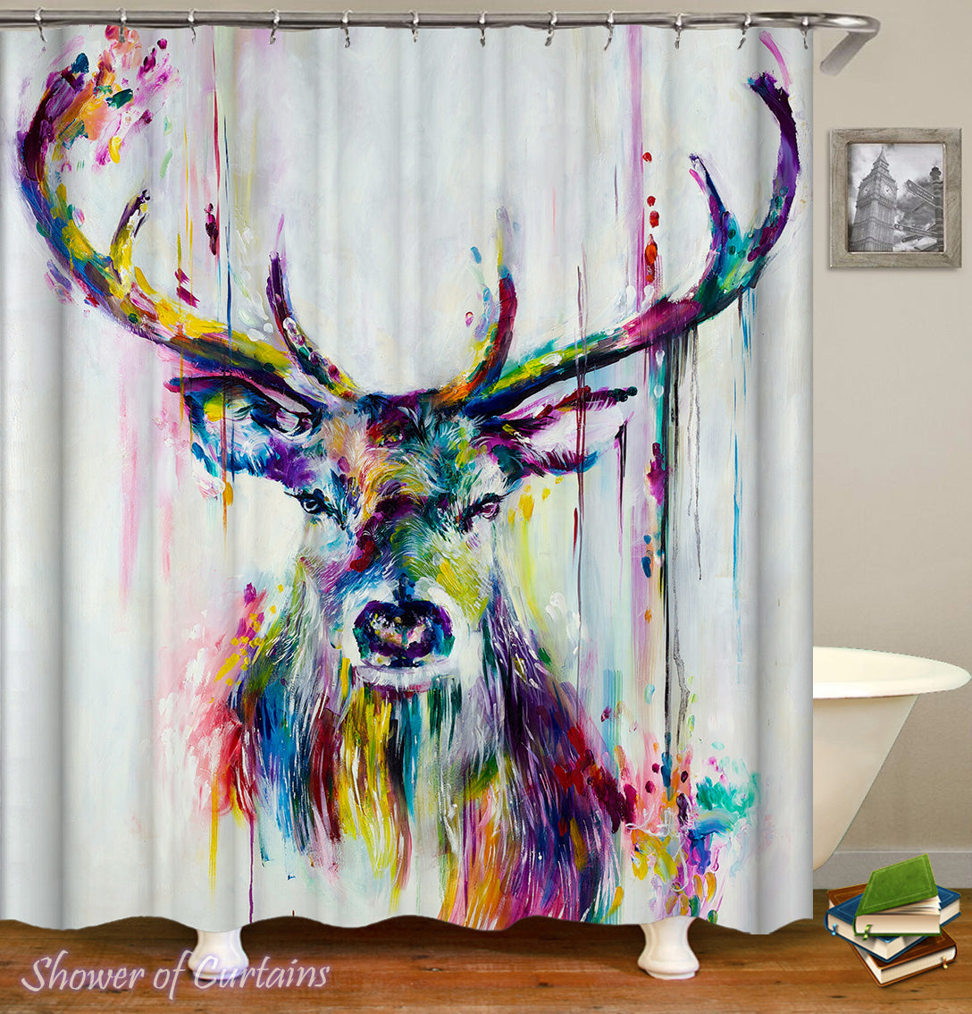 Art Colorful Shower Curtains   Colorful Deer Painting