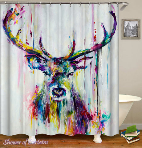 Art colorful shower curtains - Colorful Deer Painting