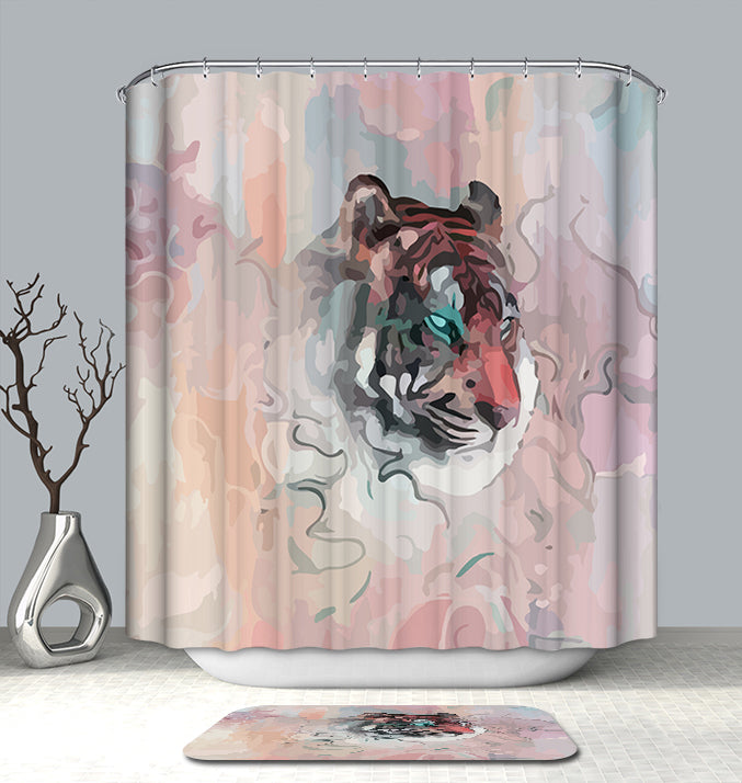 Art shower curtain - Water Painting Tiger shower curtain