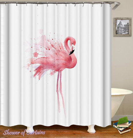 Art shower curtains - Single Flamingo Painting