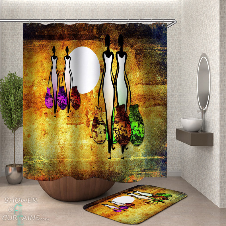 Artistic African Tribal Women Shower Curtain