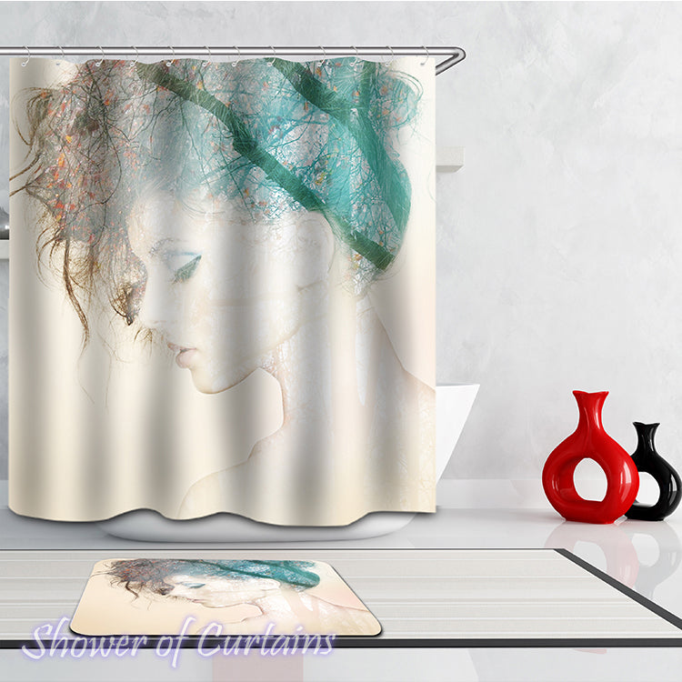 Artistic Lovely Girl  Shower curtain theme