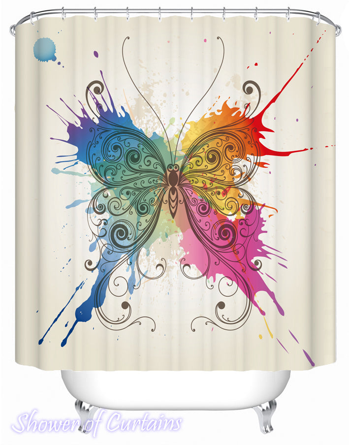 Artistic Paint Splash Butterfly Shower Curtains design