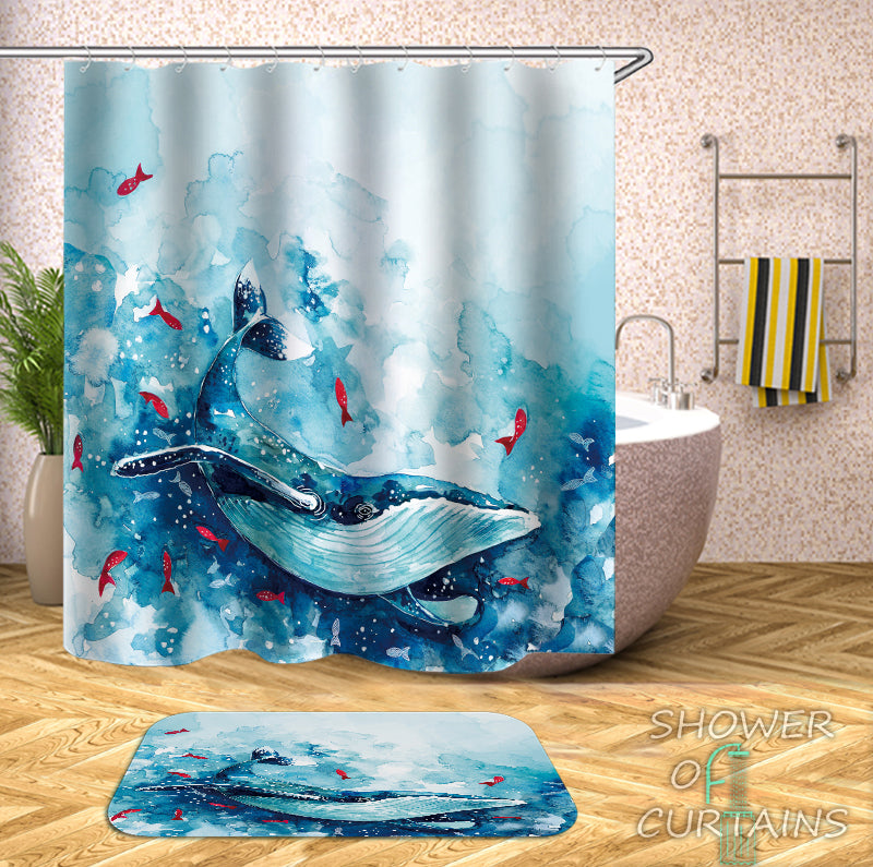 Artwork - Turquoise And Blue Watercolor Whale Shower Curtain