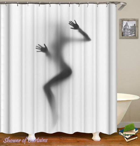 Attractive Girl Shadow Shower Curtain