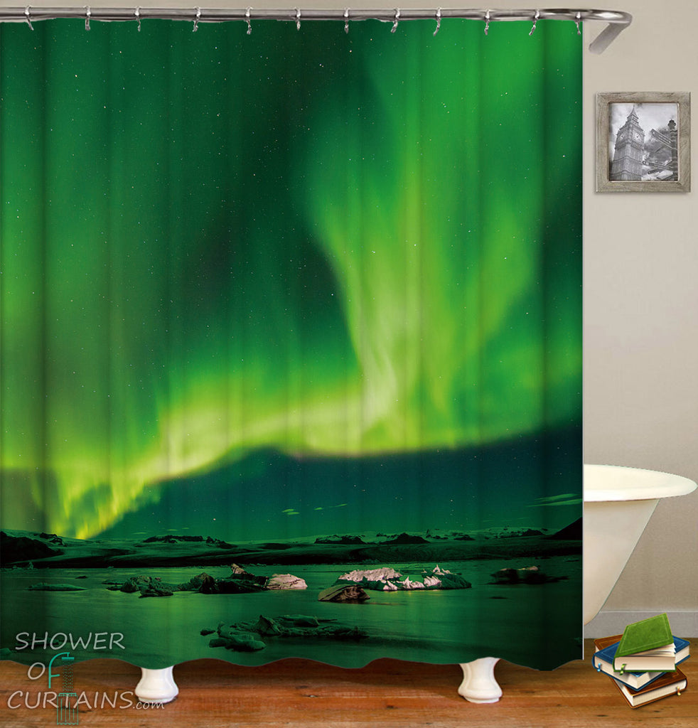 Aurora Shower Curtain - Green Bathroom Decor