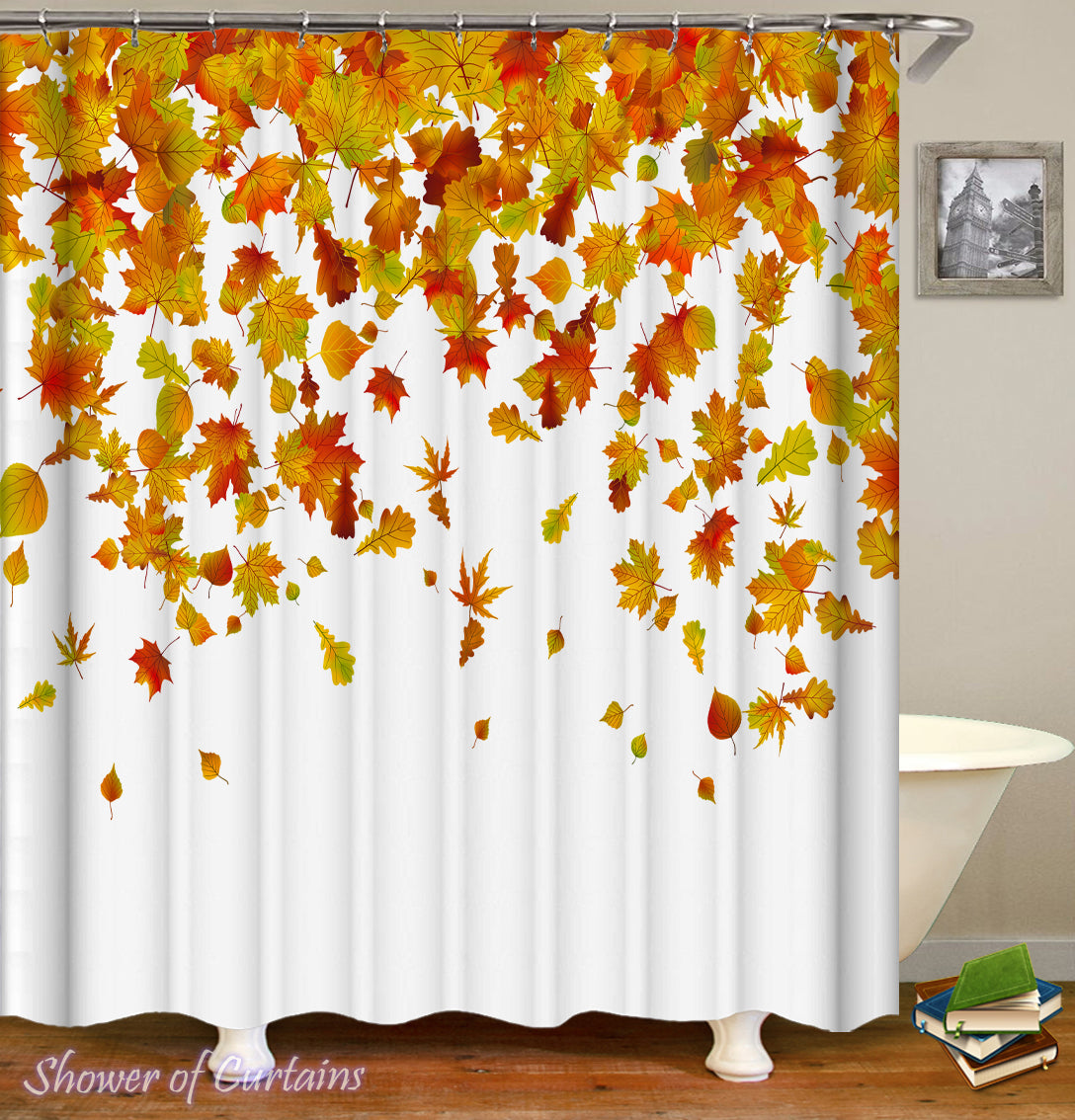 Autumn Leaves Shower Curtains Theme