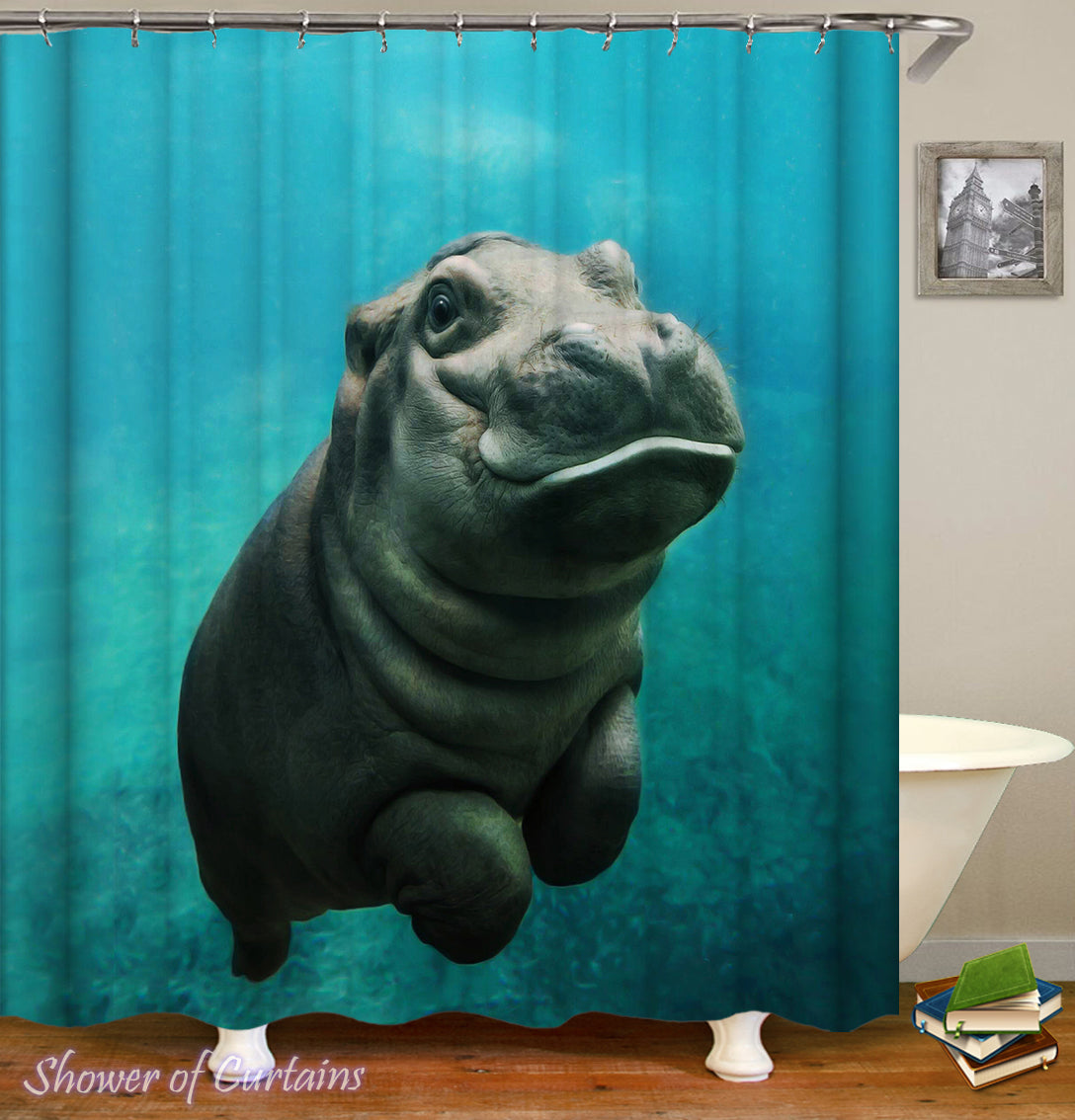 Baby Hippo Shower Curtain