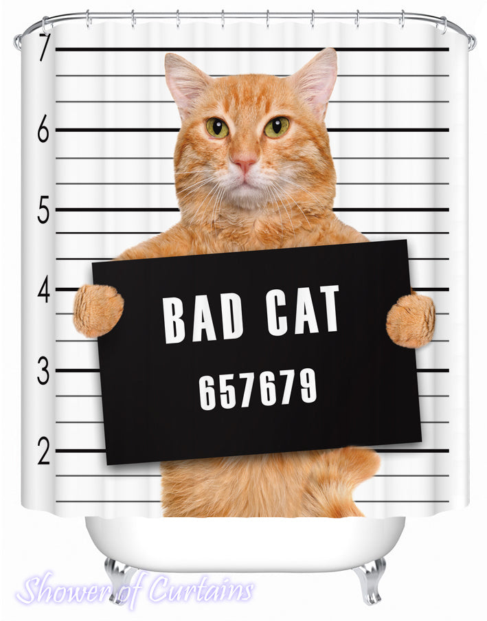 Bad Cat Shower Curtain