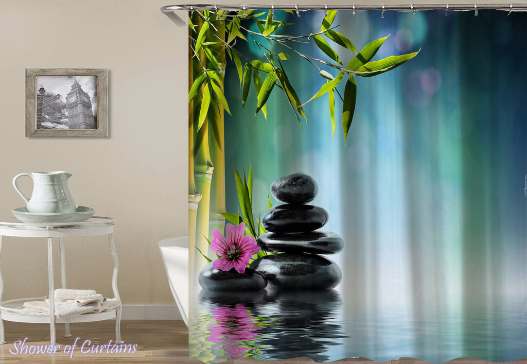 Bamboo Pebbles Spa Shower Curtain