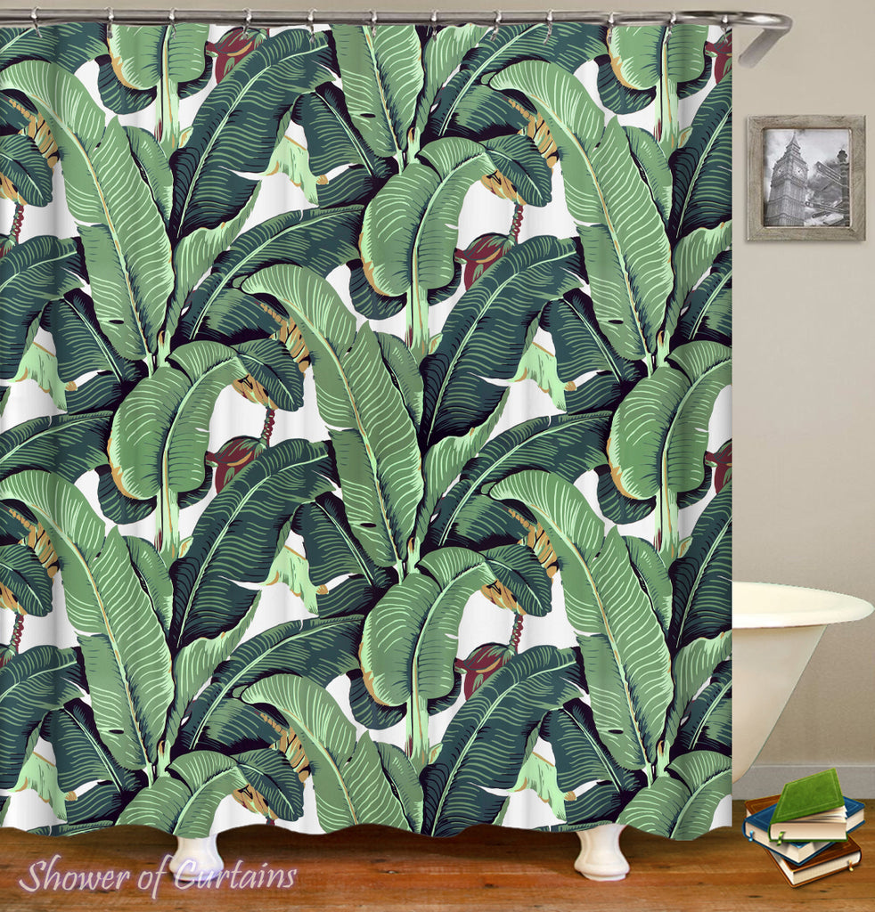 Banana Leaf Shower Curtain - Tropical shower curtains