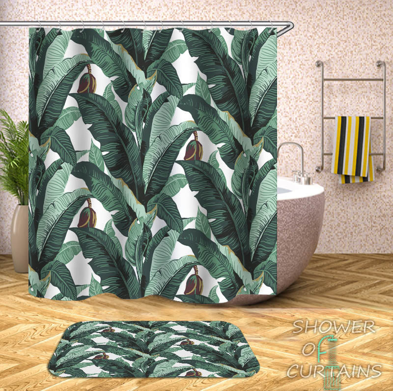 Banana Tree Leaves Shower Curtain - Tropical Themed Bathroom Decor
