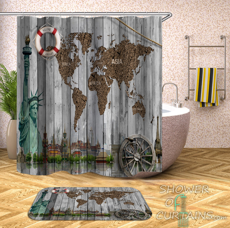 Barn Wall World Map Shower Curtain