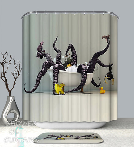 Bathing With The Kraken Shower Curtain - Cool Shower Curtains