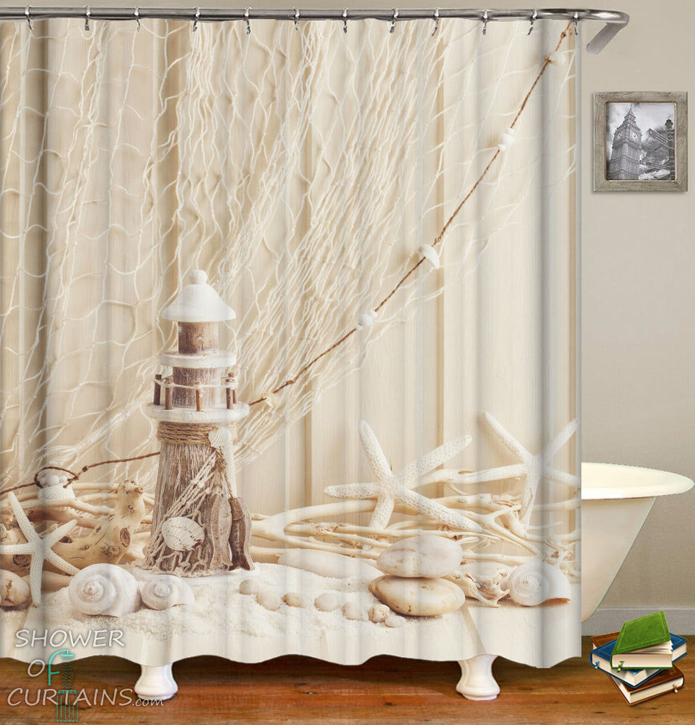 Beach Nautical Shower Curtains of Decorative Starfish Seashells And Lighthouse