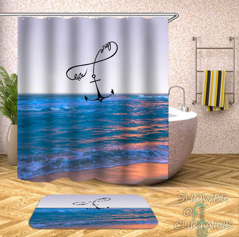 Beach Shower Curtain - Anchor The Beach Life